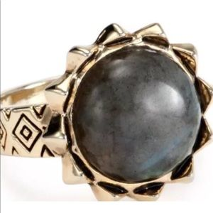 House of Harlow Spike Ring Labradorite Stone Sz 6